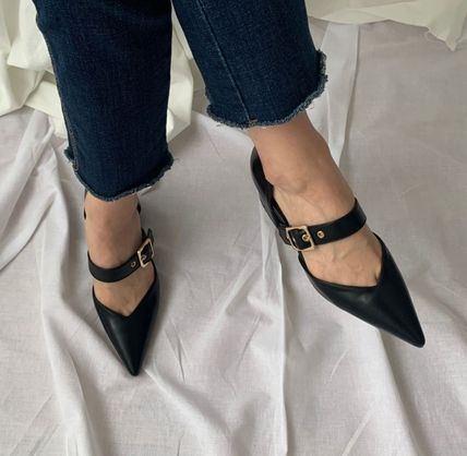 Pointed Toe Faux Fur Plain Party Style Chunky Heels 12