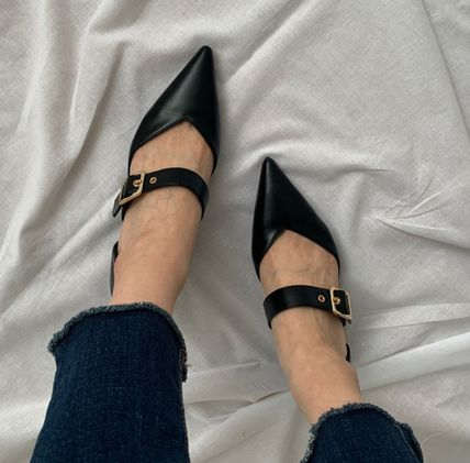 Pointed Toe Faux Fur Plain Party Style Chunky Heels 14