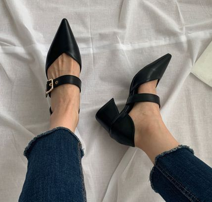 Pointed Toe Faux Fur Plain Party Style Chunky Heels 15