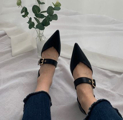Pointed Toe Faux Fur Plain Party Style Chunky Heels 16