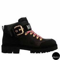 Moschino Mountain Boots Round Toe Casual Style Street Style Plain