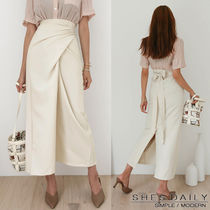 Plain Long Office Style Maxi Skirts