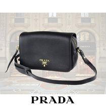 PRADA Casual Style Street Style Plain Leather Shoulder Bags