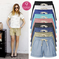 Short Casual Style Plain Cotton Denim & Cotton Shorts