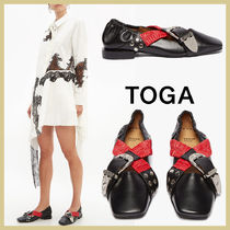 TOGA Wedge Square Toe Casual Style Studded Plain Leather