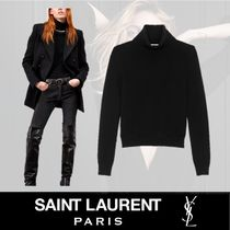Saint Laurent Unisex Cashmere Rib Long Sleeves Plain Medium Elegant Style