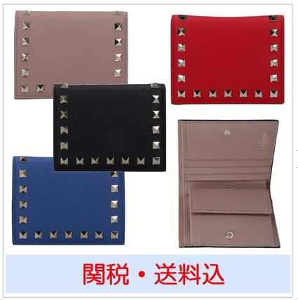 Studded Plain Leather Folding Wallets