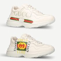 GUCCI Street Style Plain Leather Handmade Sneakers