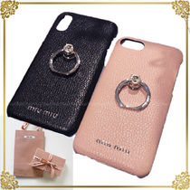 MiuMiu Plain Leather Smart Phone Cases