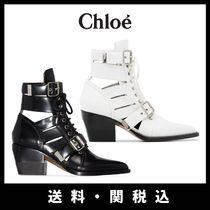 Chloe Casual Style Plain Leather Block Heels Ankle & Booties Boots