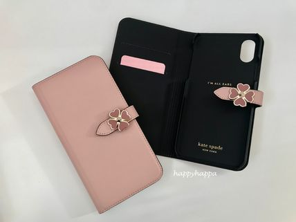 Heart Plain Leather Smart Phone Cases