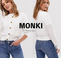 MONKI Cable Knit Casual Style Blended Fabrics Long Sleeves Cotton