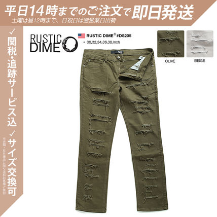 Unisex Street Style Collaboration Khaki Military Jeans