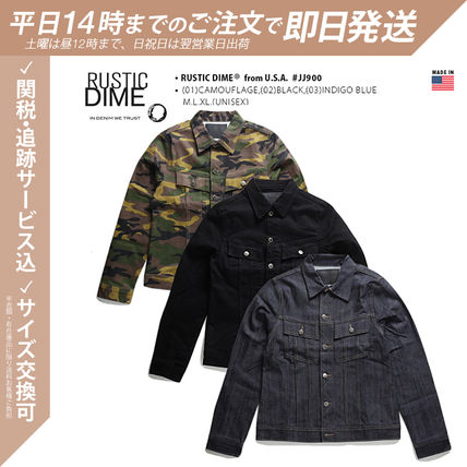 Unisex Street Style Collaboration Denim Jackets Military