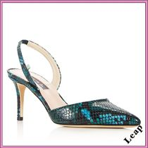 SJP by Sarah Jessica Parker Casual Style Leather Pin Heels Python Heeled Sandals