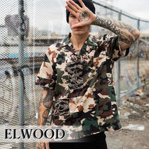 ELWOOD Button-down Camouflage Street Style Cotton Short Sleeves