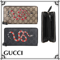 GUCCI GG Supreme Unisex Leather Long Wallets