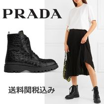 PRADA Round Toe Rubber Sole Blended Fabrics Other Animal Patterns