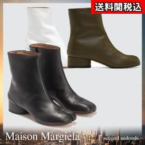 Maison Margiela Tabi Round Toe Casual Style Plain Leather Block Heels