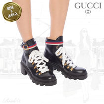 GUCCI Sylvie Stripes Plain Toe Rubber Sole Casual Style Street Style