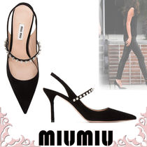 MiuMiu Suede Pin Heels Party Style Pointed Toe Pumps & Mules