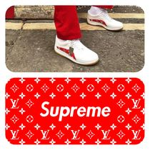 Supreme Unisex Blended Fabrics Collaboration Plain Sneakers