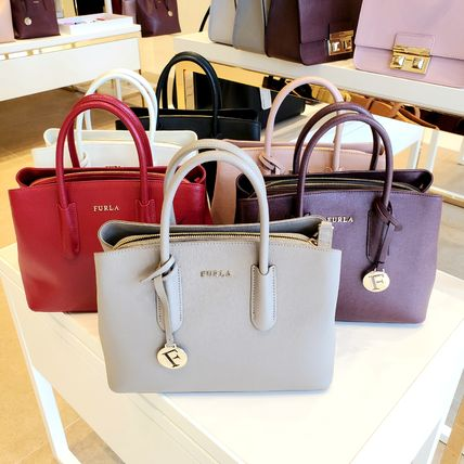 Casual Style Saffiano 2WAY Plain Elegant Style Totes