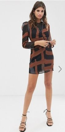Crew Neck Short Casual Style Long Sleeves Dresses