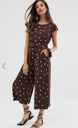 Crew Neck Dots Casual Style Long Dresses
