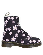 Dr Martens Flower Patterns Round Toe Rubber Sole Mid Heel Boots