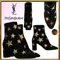 Saint Laurent Star Casual Style Leather Chunky Heels Ankle & Booties Boots
