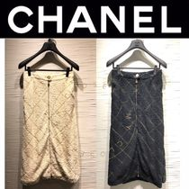 CHANEL SPORTS Other Check Patterns Casual Style Street Style Long Handmade