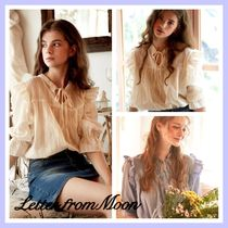 LETTER FROM MOON Stripes Lace-up Casual Style Plain Cotton Medium