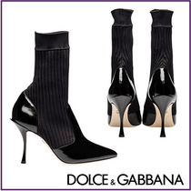 Dolce & Gabbana Leather Pin Heels Ankle & Booties Boots