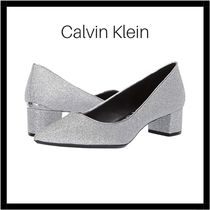 Calvin Klein Plain Leather Kitten Heel Pumps & Mules