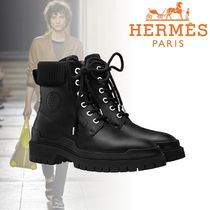 HERMES Unisex Plain Leather Engineer Boots