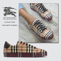 Burberry Other Check Patterns Round Toe Lace-up Casual Style Unisex