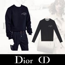 Christian Dior Crew Neck Sweat Long Sleeves Plain Sweatshirts