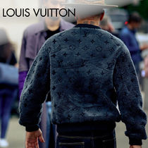Louis Vuitton Crew Neck Pullovers Monogram Long Sleeves Leather Shearling