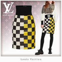 Louis Vuitton DAMIER Pencil Skirts Other Plaid Patterns Silk Blended Fabrics