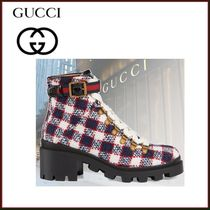 GUCCI Gingham Rubber Sole Casual Style Tweed Blended Fabrics