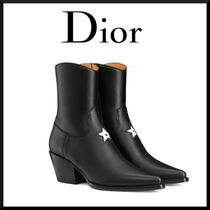 Christian Dior Star Leather Block Heels Elegant Style Ankle & Booties Boots