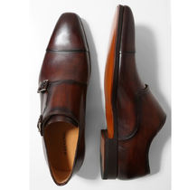 MAGNANNI Straight Tip Monk Leather Loafers & Slip-ons