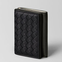BOTTEGA VENETA Street Style Bi-color Plain Leather Folding Wallets
