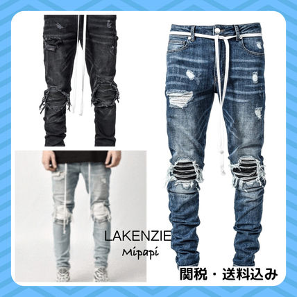 Tapered Pants Denim Plain Jeans