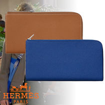 HERMES Calfskin Blended Fabrics Plain Folding Wallets