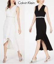 Calvin Klein A-line V-Neck Plain Party Style With Jewels Dresses