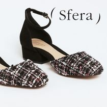 Sfera Plain Toe Tweed Office Style Kitten Heel Pumps & Mules