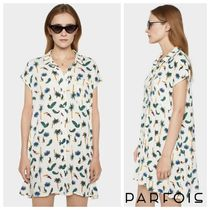 PARFOIS Short Tropical Patterns Casual Style Short Sleeves