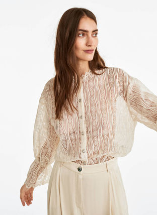 Puffed Sleeves Cotton Elegant Style Shirts & Blouses